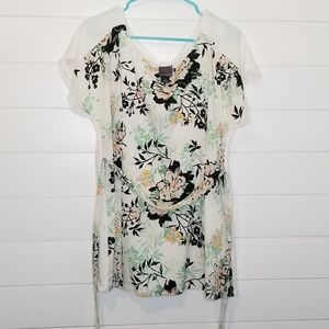 Oh Baby Mother Hood Floral Front Plain Back Top L